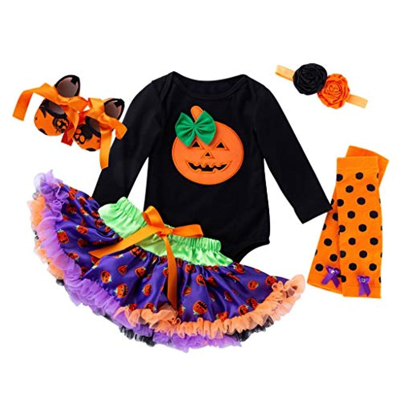 人事農奴再編成するハロウィン 赤ちゃん ワンピース Huliyun 女の子 ロンパース かわいい キッズ 仮装 子供用2ピース長袖ローブ+チュチュスカート ハロウィン 衣装 子供 女の子 パンプキン かぼちゃ 仮装