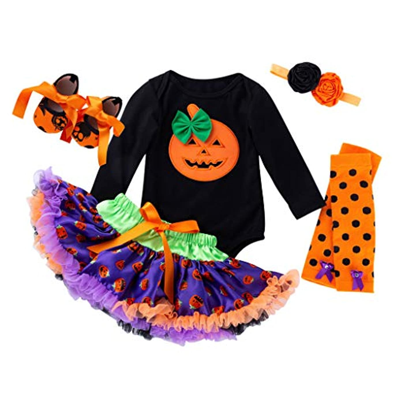杭苦行原因ハロウィン 赤ちゃん ワンピース Huliyun 女の子 ロンパース かわいい キッズ 仮装 子供用2ピース長袖ローブ+チュチュスカート ハロウィン 衣装 子供 女の子 パンプキン かぼちゃ 仮装