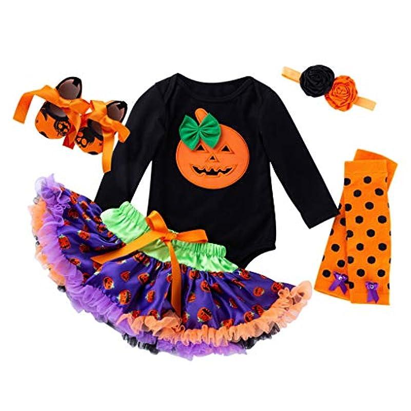 合法フロー解読するハロウィン 赤ちゃん ワンピース Huliyun 女の子 ロンパース かわいい キッズ 仮装 子供用2ピース長袖ローブ+チュチュスカート ハロウィン 衣装 子供 女の子 パンプキン かぼちゃ 仮装