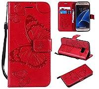 Samsung Galaxy S7 Case, Moonmini Premium 保護ケース プレミアム [ Scratch Resistant ] Cover Cases Samsung Galaxy S7 Red