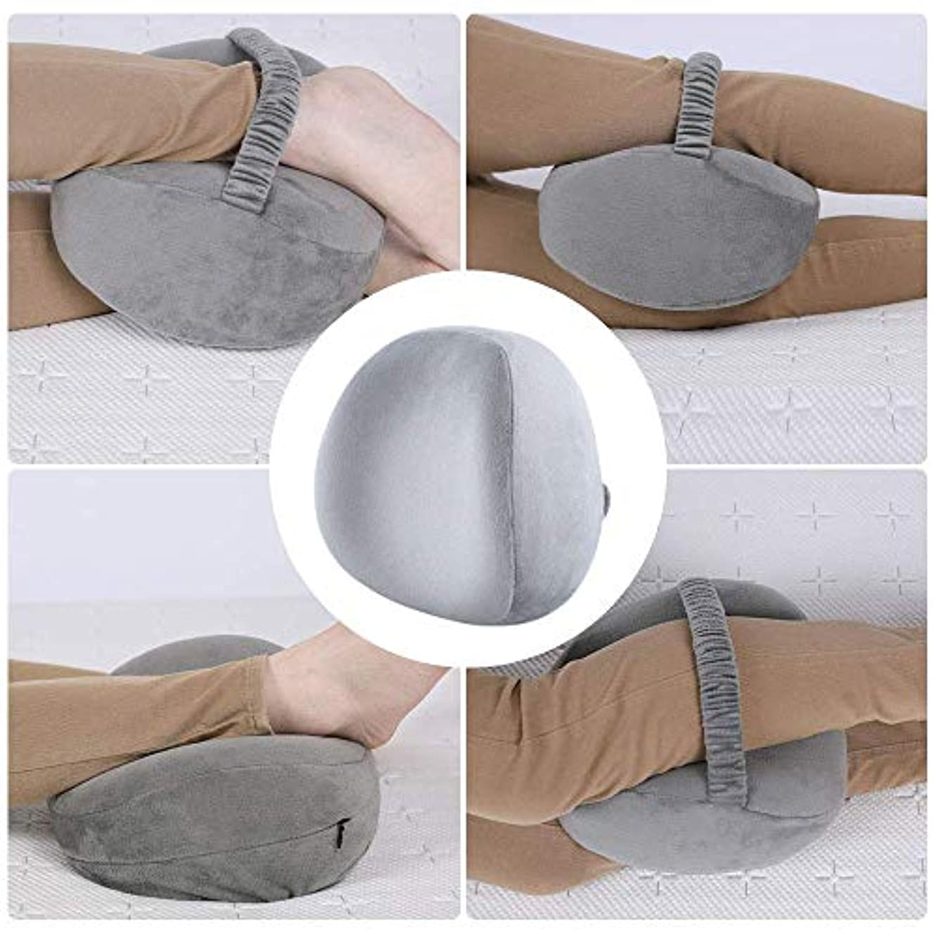 クラッシュタイヤスリチンモイYiTong サイドスリーパー用ニーピローレッグポジショナー-ヒップ、背中、脚、膝の痛み、脊椎のアライメント、坐骨神経痛の緩和、妊娠–ウォッシャブルカバー付きプレミアムメモリーフォームウェッジ輪郭(グレー)
