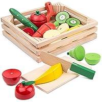 サクッと切れるおままごとセット BATTOP 木製おもちゃ 野菜 果物 磁石 おままごと 知育 ハイブリッドセット(木箱入り) よくばり全14種