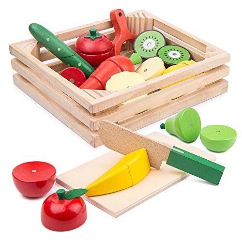 サクッと切れるおままごとセット BATTOP 木製おもちゃ 野菜 果物 磁石 おままごと 知育 ハイブリッドセット...