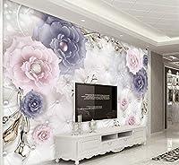 Yosot カスタム壁紙3Dヨーロッパのレトロな花の宝石のテレビのソファの背景壁3Dの壁紙-350Cmx245Cm