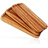 11.8-inch Solid Wood Serving Platters - Set of 3 highly durable dishwasher safe rectangular party plates - Avoid sliding & sp