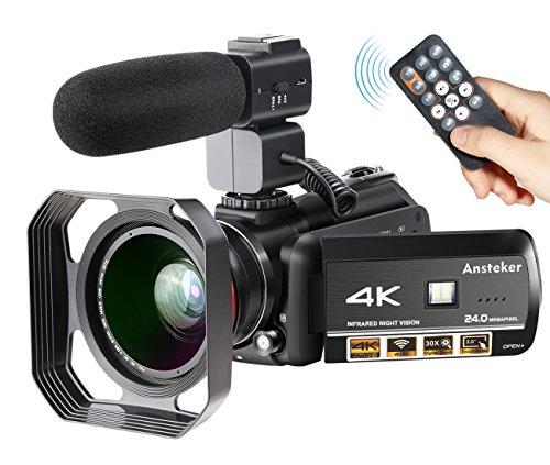 ビデオカメラ Ansteker 4K 1300万画素 WIF...