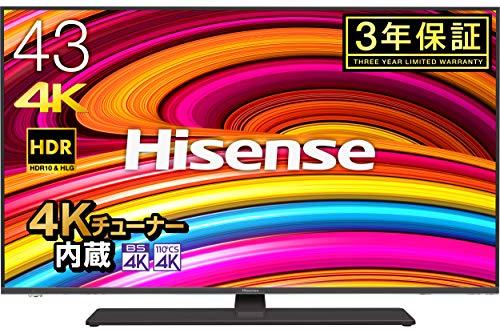 ハイセンス Hisense 43V型 4Kチューナー内蔵液晶テレビ レグザ...