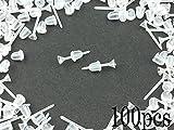 ノーブランド品 樹脂ピアス パーツ シリコンキャッチ 付 50ペア 100個 ポストピアス (AP0046)