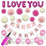 Mainiusi 誕生日 飾り付け バルーン セット 女の子 HAPPY BIRTHDAY ガーランド ペーパーフラワー I LOVE YOUピンク 風船 バースデー パーティ デコレーション 生日会 祝い 装飾(両面テープ、空気入れ付き、合計43点セット