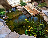 Weaeo カスタム壁紙3Dの床3D高品質の池の川石の蓮の葉のベッドルーム自己粘着性の床の絵Bei-350X250Cm