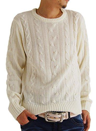 (アーケード) ARCADE 10color メンズ ニット セーター クルーネック ケーブル編み ニットセーター 秋 冬 丸首 S ホワイト