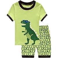 Dizoon Kids Boys Pyjamas Set 100% Cotton 2 Piece Dinosaur Pajamas Sleepwear Shorts PJS Set Size 2-12 Years