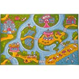 [Kev & Cooper]Kev & Cooper Playtime Collection Road Map Educational Area Rug 5'0 x 6'6 KCP010003-3x5 [並行輸入品]