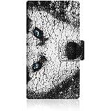 CaseMarket apple iPhone 5s (4インチ) (iPhone5s) 手帳型 オリジナルデザイン スリム ケース [ スノー ウルフ & ブラック シベリアンハスキー ]