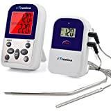 iTronics TP12 Wireless Digital Meat Thermometer for Grilling Oven Smoker BBQ Grill Thermometer with Dual Probe, 300 Feet Range
