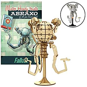 IncrediBuilds Fallout Mr. Handy Poster and 3D Wood Model Kit - Build, Paint and Collect Your Own Wooden Model - Great for Kids and Adults,12+ - 17cm