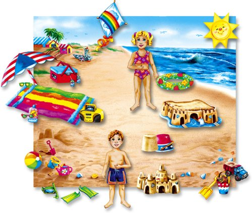 Fun in the Sun Felt Playboardセット( Includes : 20+ Felt Figures、フランネルボードとケース)