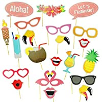 21pcs Hawaii Themed Summer Party Photo Booth Props Kit DIY Luau Party Supplies for Holiday, Wedding, Beach Pool Party, Birthday and More
