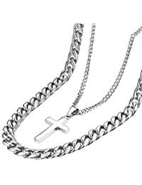 Davieslee メンズ ネックレスチェーン 2連 十字架 ペンダント ネックレス ステンレス 喜平チェーン カットチェーン シルバー(銀) 11mm 「81.28cm」