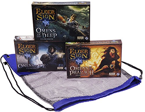 Omens of the Deep ; Omens of Ice ; Omens of the Pharaoh _ bundle of 3 Expansions for Elder Signゲーム_ Bonusブルーナイロン/ブラックメッシュ巾着Carryバッグ_バンドルアイテム