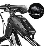 フレームバッグ 耐衝撃性 トップチューブバッグ サドルバッグ 自転車バッグ スマホ収納 大容量 完全防水 取り付け簡単 撥水処理 フロントバッグ 7.8インチ以下のスマートフォに対応