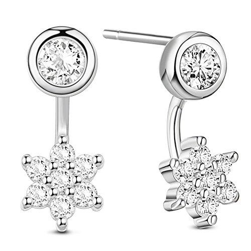 [해외]Sweetiee 925 AAA 지르콘 라운드 & 눈송이 크리스마스 영화 스터드 귀걸이 보석/Sweetiee Silver 925 AAA Zircon Round & Snowflake Christmas Pure silver Stud Earrings Jewelry