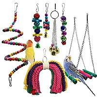 ペット用品 鳥用品 インコ オウム おもちゃ 止まり木 噛む玩具 吊り下げ ストレス解消 木製 マルチカラー (7個セット)