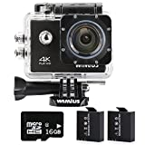 WIMIUS 防水 カメラ スポーツ 戸外カメラ 4K WIFI 2.0インチ液晶確認 16GB タイムプラス機能 戸外用 多機能カメラ (ブラック)