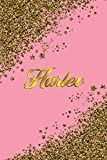 Harlee: Personal Name Blank Lined Notebook Pink &Gold Stars Confetti Glitter for Writing Journal or Diary Women &girls Gift for Birthday or Valentine's Day 110 Pages Size 6x9 Elegant Matte Finish