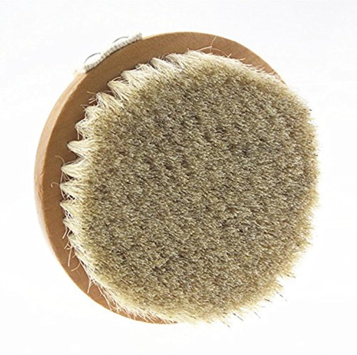 アンペア若者有益なSweetimes ボディブラシ 丸型 高級な馬毛100% 角質除去 バス用品 天然素材 低刺激 No.20-1