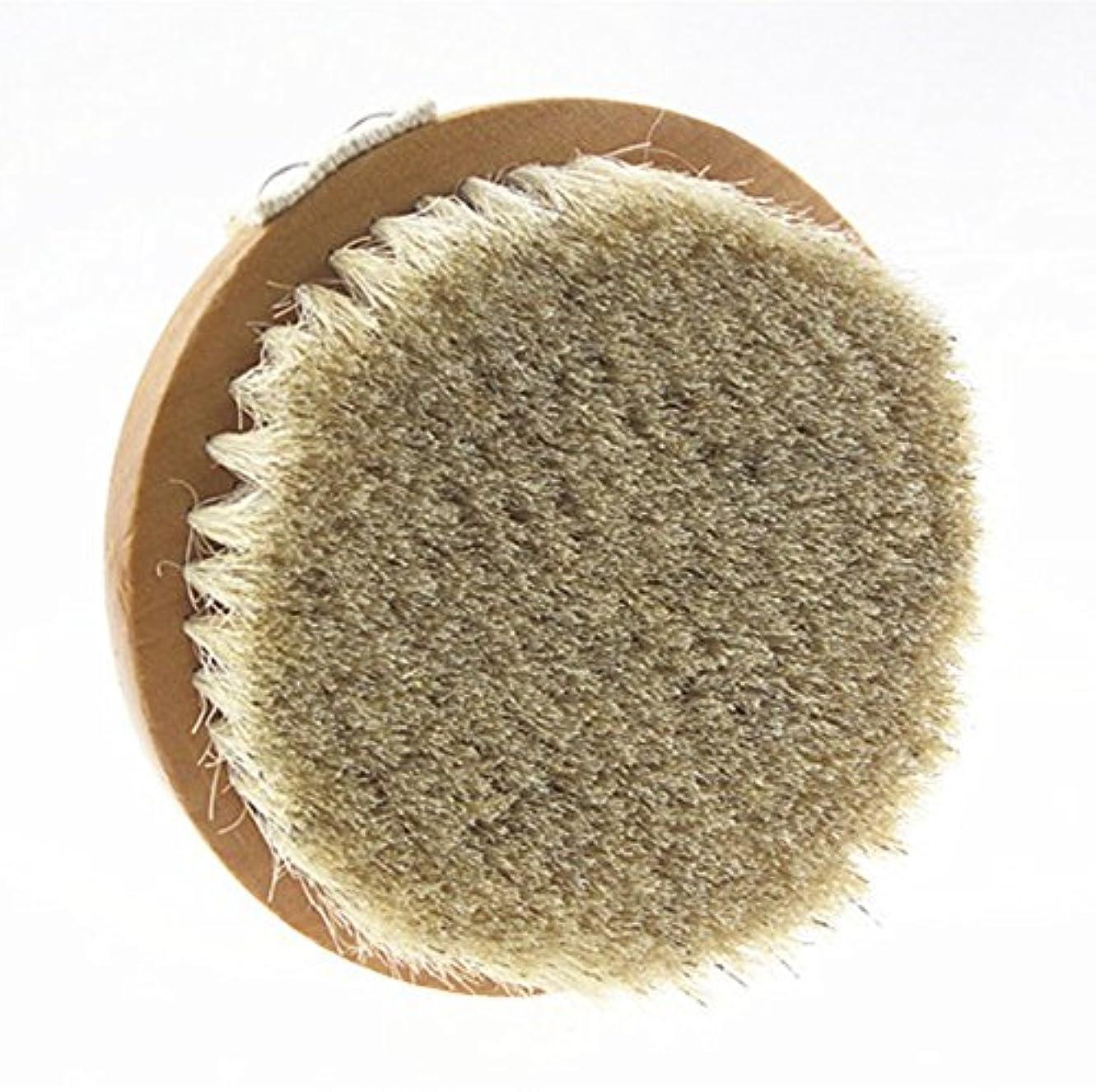 やむを得ないブランデー王位Sweetimes ボディブラシ 丸型 高級な馬毛100% 角質除去 バス用品 天然素材 低刺激 No.20-1