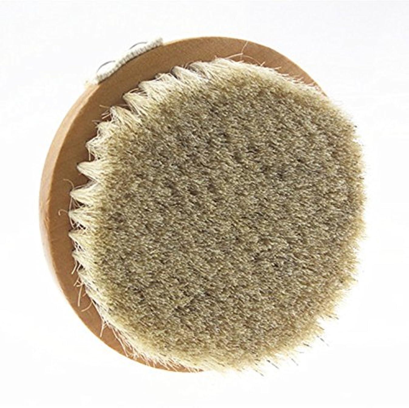 ゆりかご恨み通知Sweetimes ボディブラシ 丸型 高級な馬毛100% 角質除去 バス用品 天然素材 低刺激 No.20-1