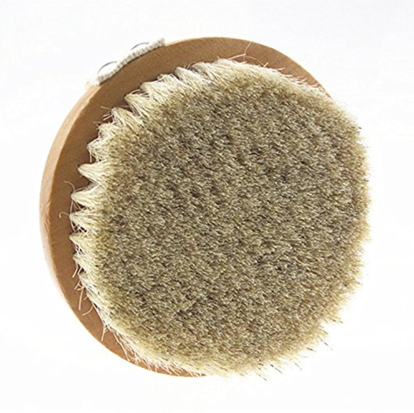 請負業者引き付ける花Sweetimes ボディブラシ 丸型 高級な馬毛100% 角質除去 バス用品 天然素材 低刺激 No.20-1