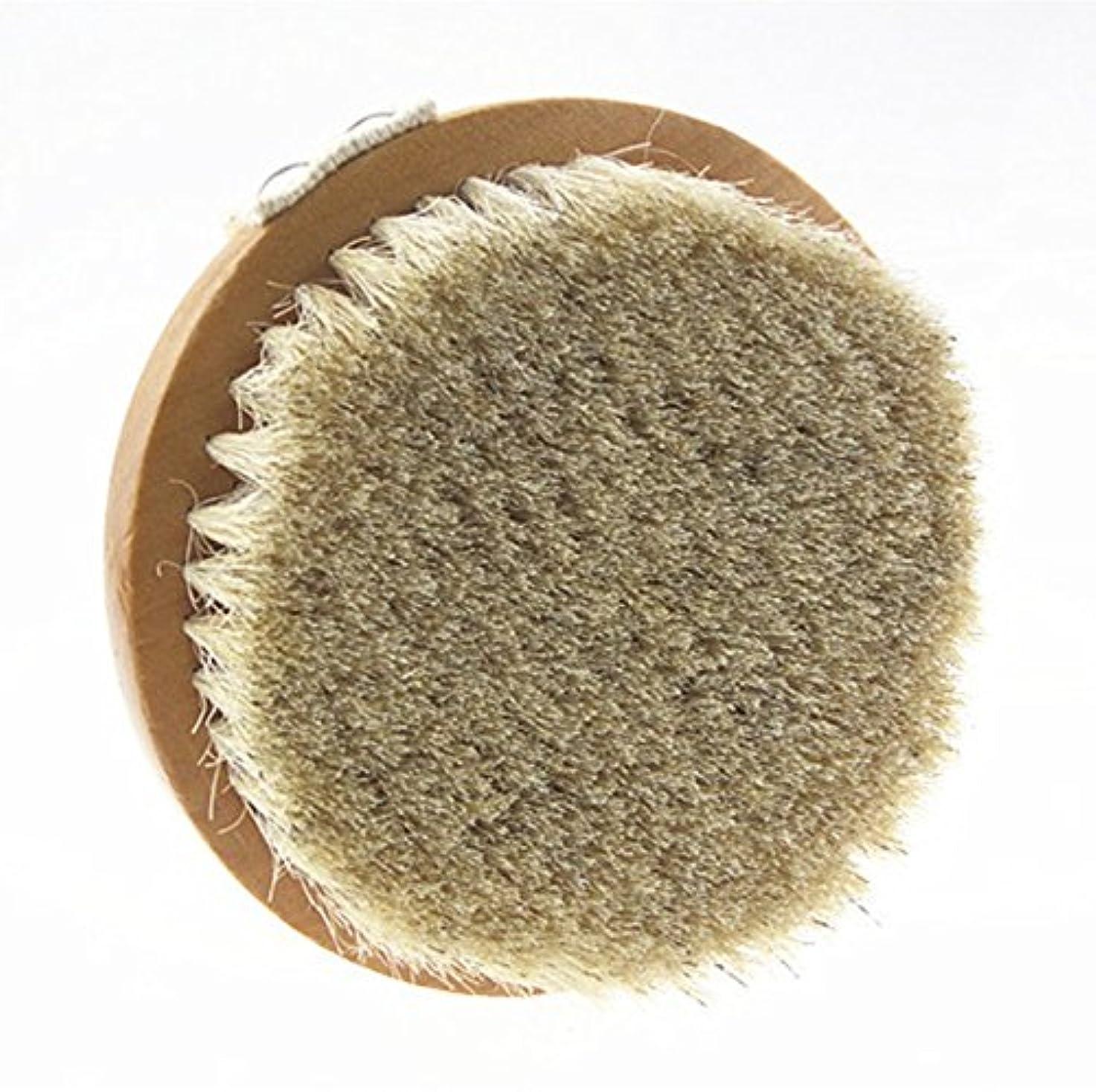 話す警告白菜Sweetimes ボディブラシ 丸型 高級な馬毛100% 角質除去 バス用品 天然素材 低刺激 No.20-1
