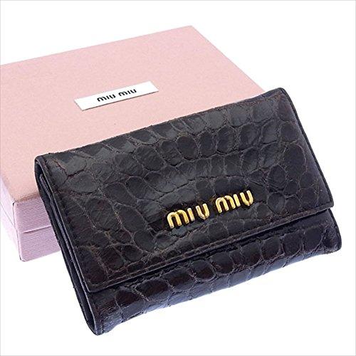ミュウミュウ miumiu キーケース 6連キーケース レディース ロゴ入り 5M0222 クロコダイル調 中古 A884