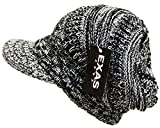 (エクサス)EXAS アクリルつば付きバイザービッグニットキャスケット(ニット帽 ニット帽子 ニットワッチ ) ブラックホワイト