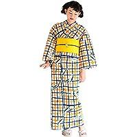 [ 京都きもの町 ] 女性 浴衣単品 オレンジ×ネイビー 格子ツバメLLサイズ