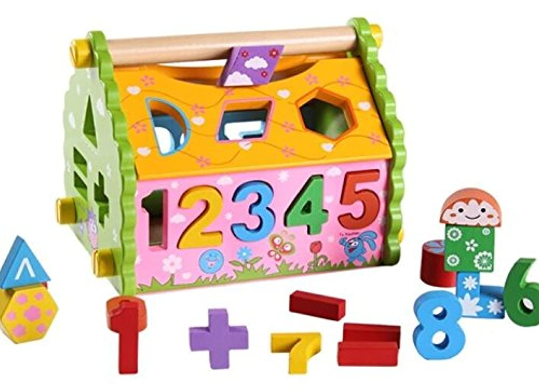 HuaQingPiJu-JP 子供のための美しい木製の形状ソーター幾何学的な並べ替えの家庭教育形状色認識玩具