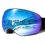 HOMFUL スキーゴーグル スノーゴーグル スノーボードゴーグル 曇り防止 男女兼用 メガネ対応 耐衝撃 99%UVカット 球面レンズ 広視野 2層スポンジ 防風 防雪 防塵 登山 バイク アウトドア活動適用