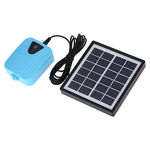 Decdeal DC充電 酸素ポンプ 池の通気装置 ソーラー充電可能 1つのエアストーン水族館エアポンプ付き