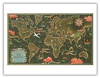 エールフランス地図 - ルート世界地図を飛びます - 星座早見表 - ビンテージな航空会社のポスター によって作成された ルシアン・ブーシェ c.1948 - アートポスター - 51cm x 66cm