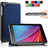 Infiland Huawei MediaPad 7 T1-701w 専用保護スマートケース 超薄型 超軽量 マグネット開閉式 三つ折 高級PU レザーケース(ネービーブルー)