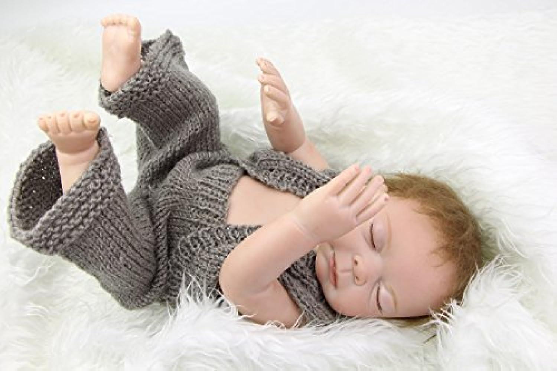 Withニット服20インチSleeping Reborn Baby Boy Full Bodiedシリコンビニール新生児人形子供誕生日クリスマスギフト