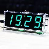 KKmoon LED時計 DIYデジタルLED時計キット 4桁 LEDクロックキット コントロール温度日付時間表示機能 透明ケース付き