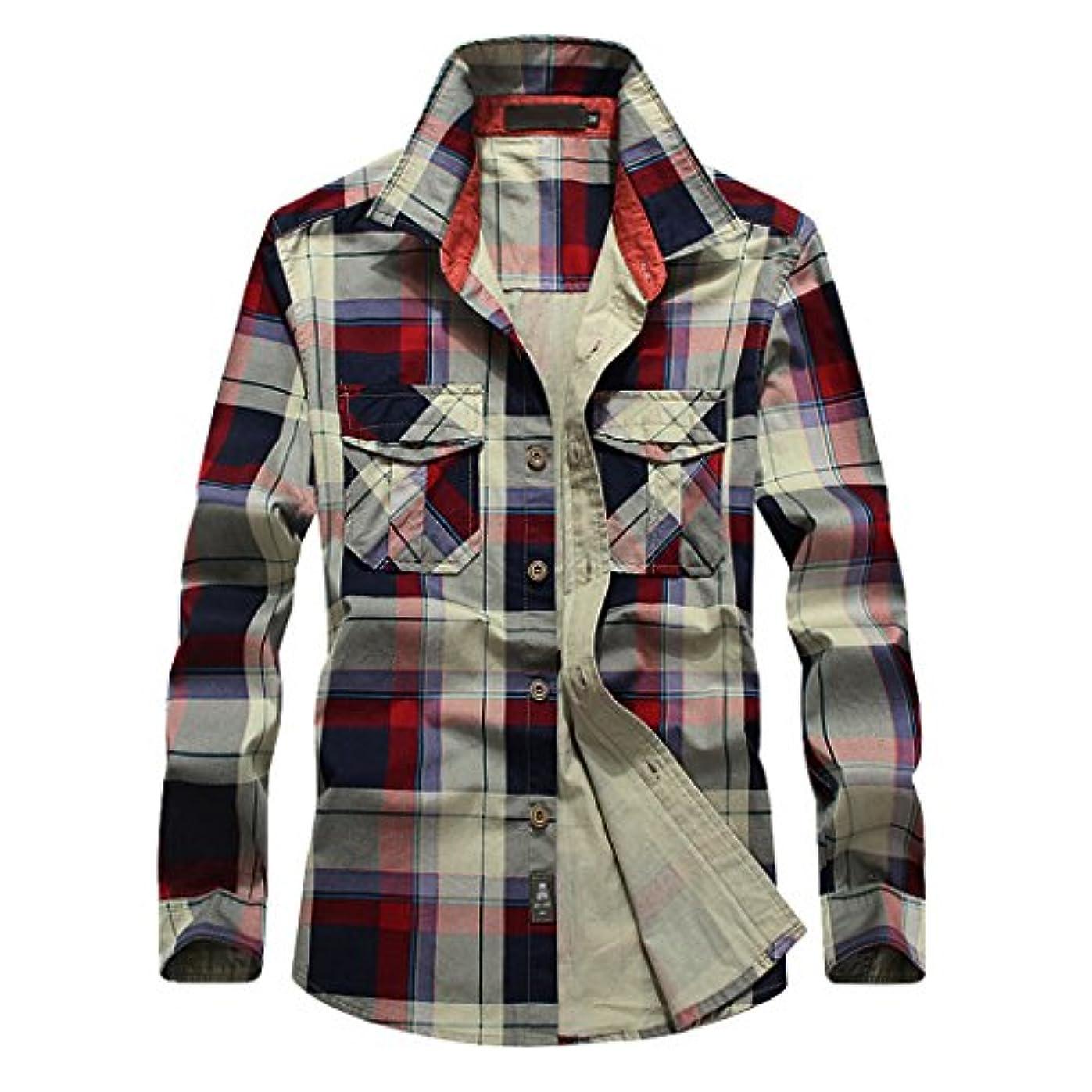 可能性極地分離SemiAugust(セミオーガスト)メンズ チェックシャツ 長袖 ネルシャツ ストレッチ カジュアル シャツ サーフ系 ボタンダウン コットン おしゃれ スリムシャツ トップス アメカジ
