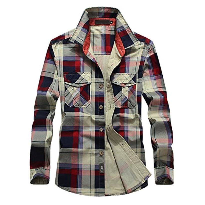 弱める効率グラマーSemiAugust(セミオーガスト)メンズ チェックシャツ 長袖 ネルシャツ ストレッチ カジュアル シャツ サーフ系 ボタンダウン コットン おしゃれ スリムシャツ トップス アメカジ