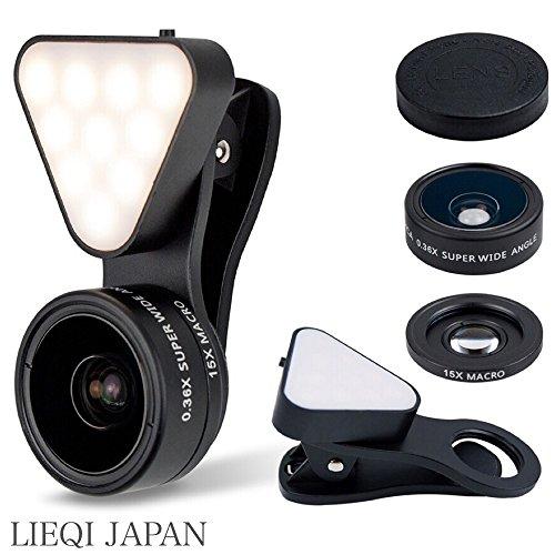LIEQI JAPAN LQ-041 スマホ用カメラレンズ 1台3役 超広角レンズ マクロレンズ LEDライト 風景撮影 自撮り 集合写真 夜間撮影 ワイドレンズ マクロレンズ クリップ式Iphone Android スマホ タブレット(ブラック)