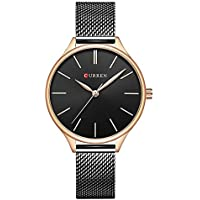 TREEWETO Womens Analog Watches Quartz Wristwatches Business Casual Watch Unique Dress Watch Roman Numeral Fashion Ladies Black Strap Watches Birthday Gift
