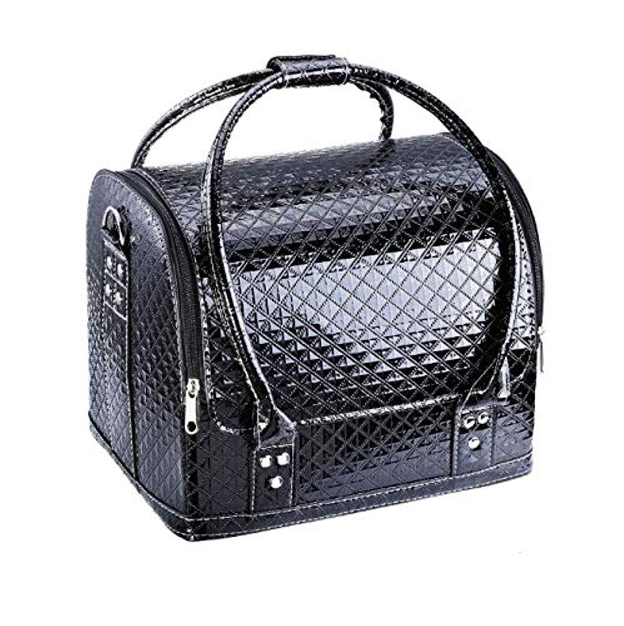 損傷満員救援化粧箱、大容量ダブルオープンポータブル化粧品ケース、ポータブルダイヤモンドパターン旅行化粧品バッグ、美容ネイルジュエリー収納ボックス