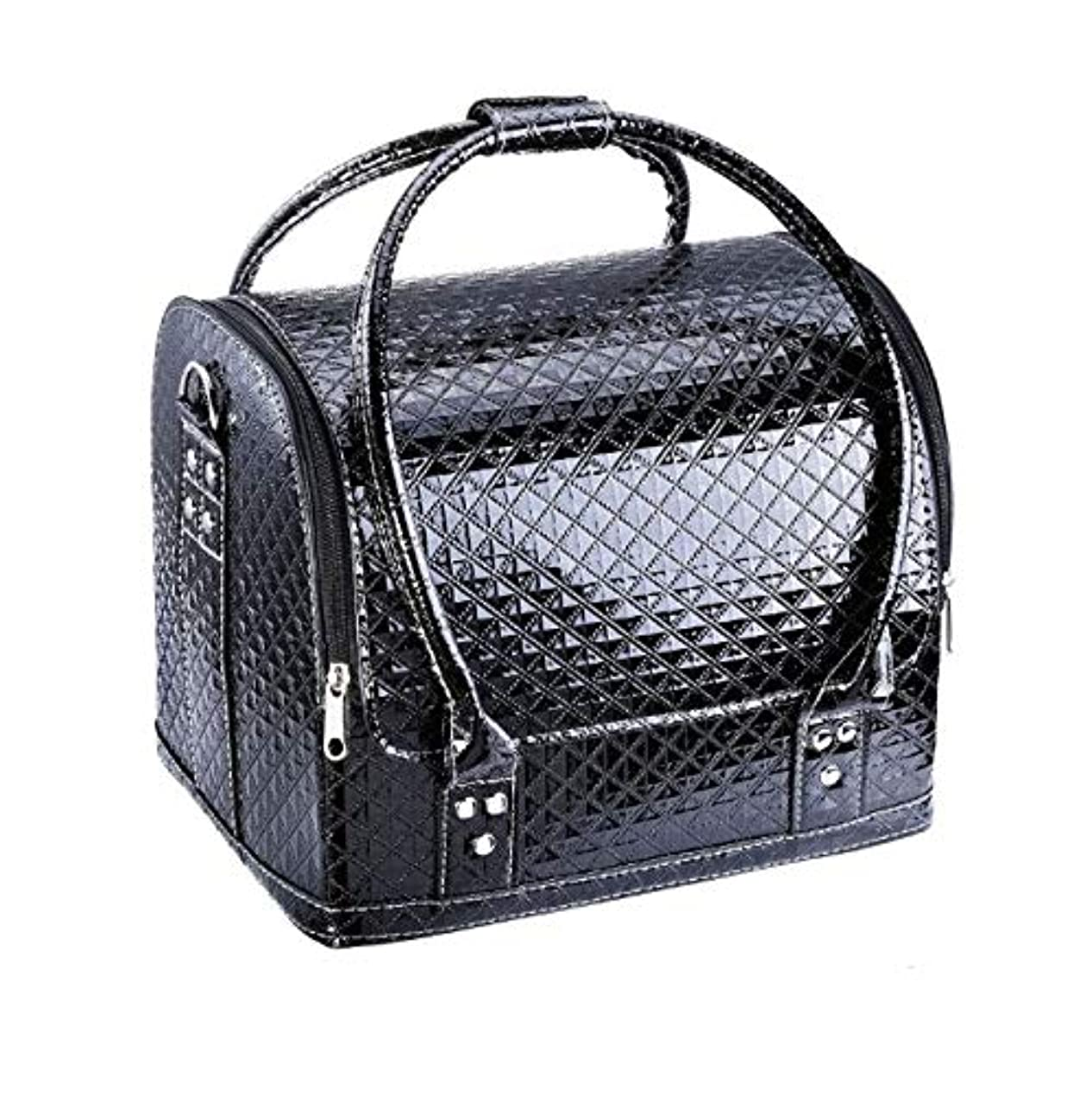 忠実トレイ枯れる化粧箱、大容量ダブルオープンポータブル化粧品ケース、ポータブルダイヤモンドパターン旅行化粧品バッグ、美容ネイルジュエリー収納ボックス